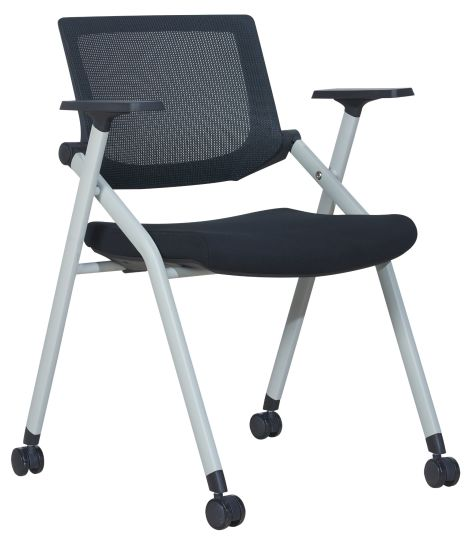 Black Connectable Folded Stackable Negotiating Visitor Wheel Mesh Chair
