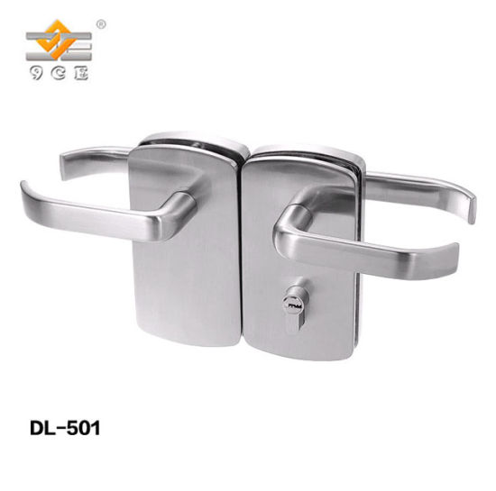 Security Sliding Lever Toughened Glass Door Handle Lock With Key