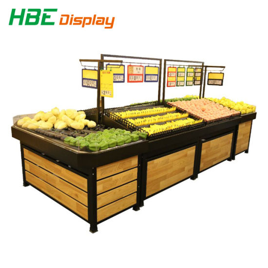 Highbright Fruit Store Wooden Display Rack with Price Tag pictures & photos