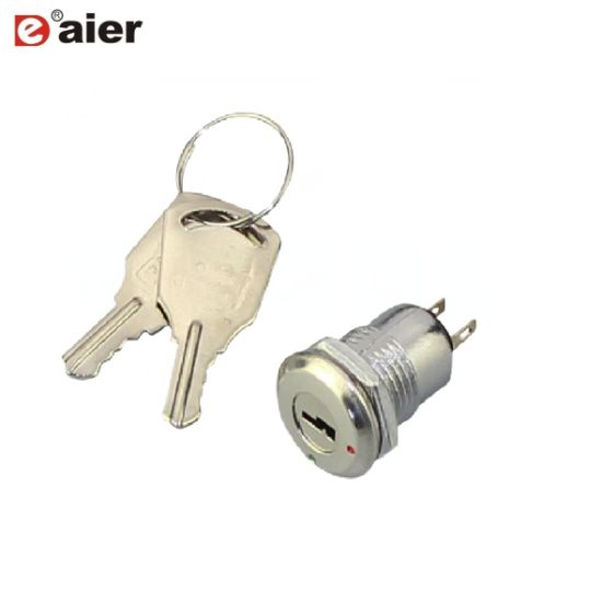 2Pin ON-OFF 2 Positions Metal Key Switch 12mm Electronic Lock Maintained Switch
