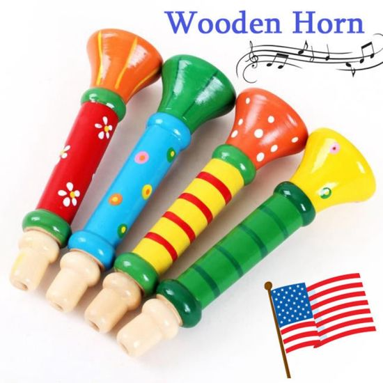 Wholesale Baby Kids Wooden Horn Hooter Trumpet Instruments Music Educational Toy for Kids pictures & photos