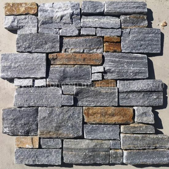 Black Quartzite Stacked Ledge Culture Stone for Slate Veneer and Wall Panel