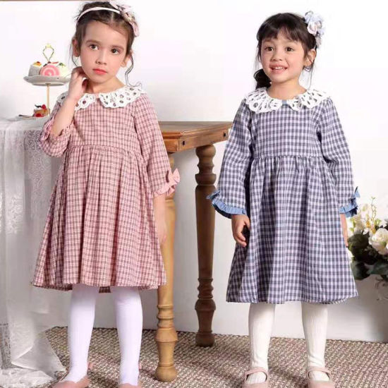 Plaid Cotton Eyelet Peter Pan Collar Casual Vintage Kids Girl Dresses