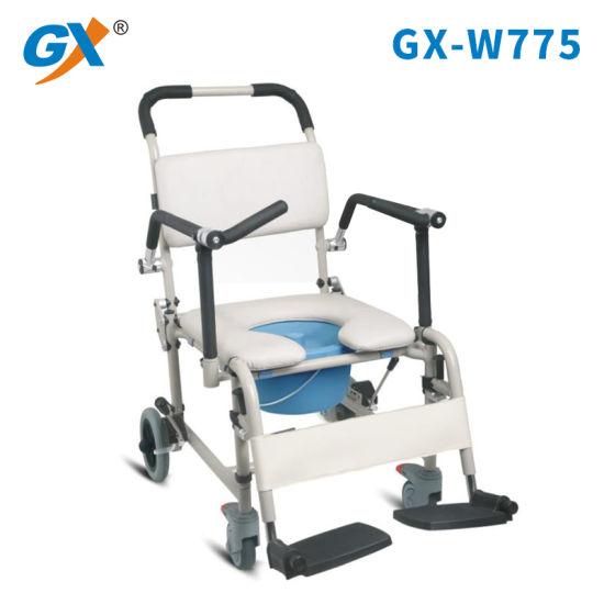 White Seat Aluminum Commode Wheelchair Adjustable Hight Transfer Commode Toilet Potty Wheel Chair for Elderly