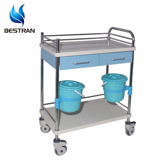 Hospital Two Layers Small Mobile Medical Nursing Clinical Trolley Carts