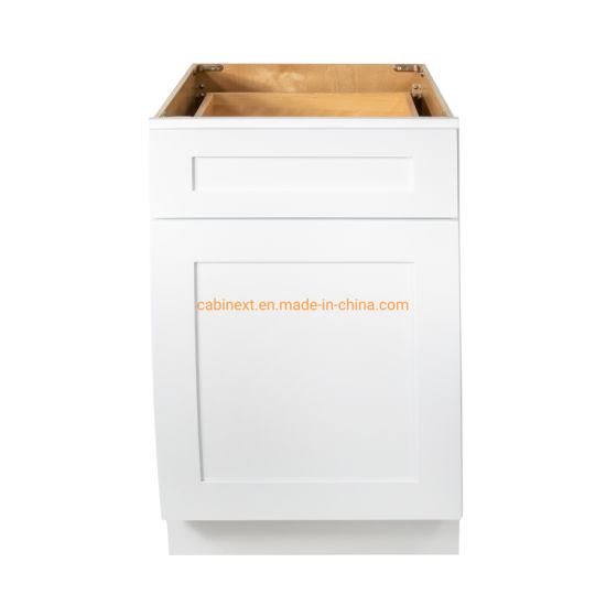 China White Shaker Wall Frame And Less Kitchen Cabinets