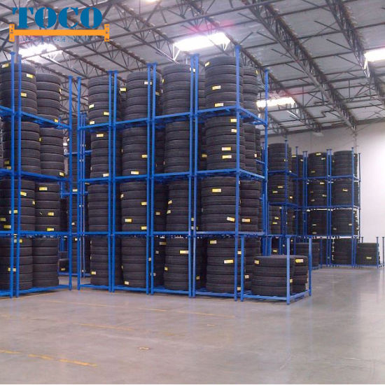 Commercial Light Duty Plywood Collapsible Tyre Racking with Wood Deck