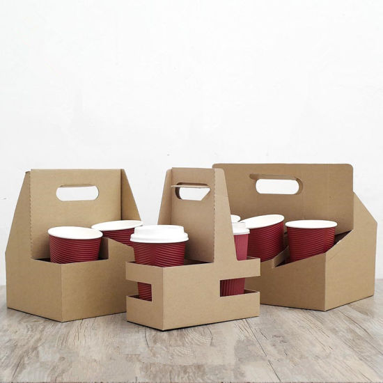 Net Red Kraft Paper Cup Holder Coffee Milk Tea Takeout Packaging Box Thickened Paper Plastic Cup Beverage Holder