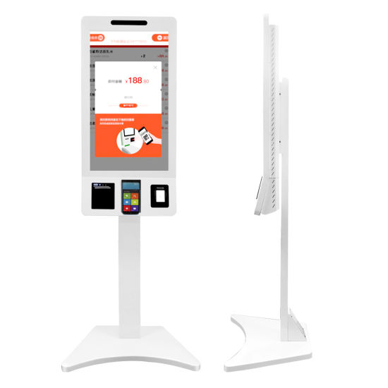 """Aiyos 32"""" Floor Standing Shopping Mall POS Terminal Payment Kiosk with Qr Scanner"""