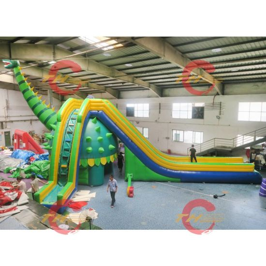 12X8m/15X8m Popular Jungle Inflatable Water Slide with Pool, Big Dinosaur Inflatable Wet Slide Double Lanes