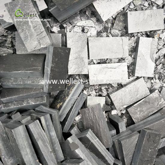 China Natural Stone Black Slate Cobble Stone For Exterior Paving