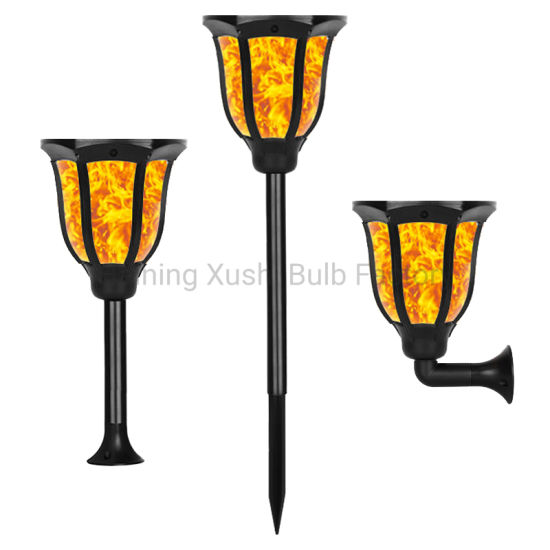 2020 Waterproof New Luxury Solar Flame Torch Lights Dancing Flame Flickering 96 LED Solar Garden Lawn Lamp for Outdoor Deco