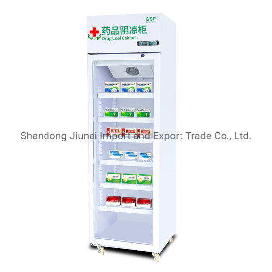 Medical Refrigerator Freezer Vertical Air-Cooled Medicine Display Cabinet New Gsp Certification Pharmacy