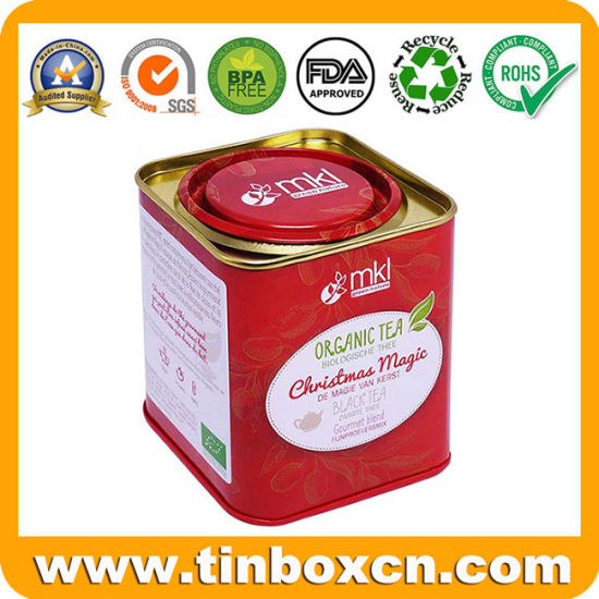 Christmas Gift Square Metal Can Tea Tin Box with Airtight Lever Lid for Coffee Spice Food Storage pictures & photos
