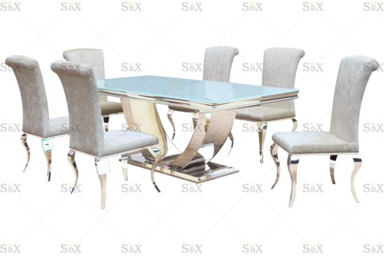 U Design Super White Table Top and Stainless Steel Chrome Arial Table