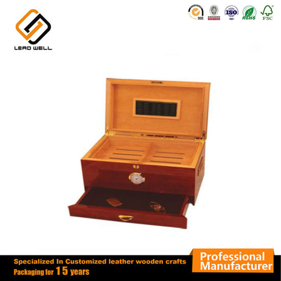 100 Cigar Humidor Maple Finish Wooden Cigarette Packaging Box pictures & photos
