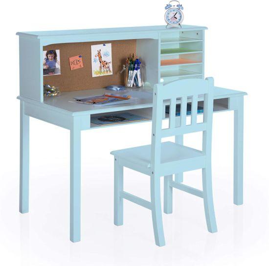 Children's Media Desk and Chair Set Student's Study Computer Workstation, Wooden Kids Bedroom Furniture