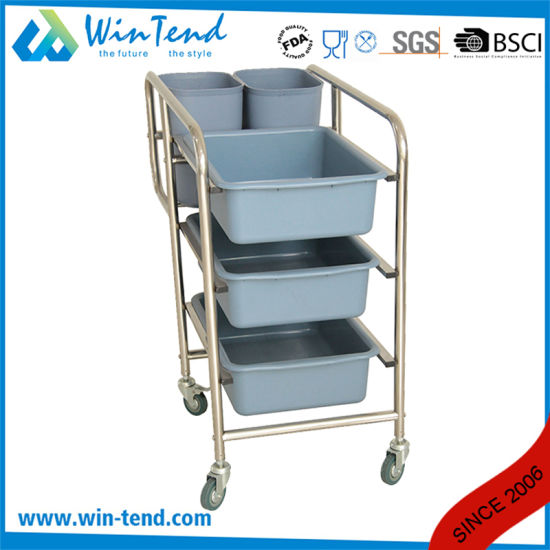 Round Tube Cleaning Garbage Cart with Bin and Basket for Kitchen pictures & photos