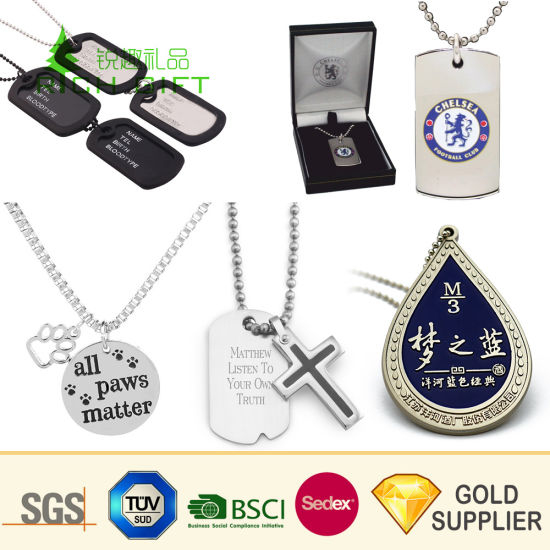 Promotional Custom Engraved Logo Stainless Steel Military Metal Dog Tag Blank Printed Key Enamel Identity Aluminum Necklace Name Pet ID Tag for Promotion Gift