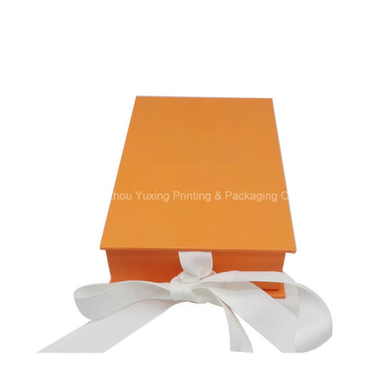 Fancy Paper Rigid Cardboard Ribbon Packaging Box
