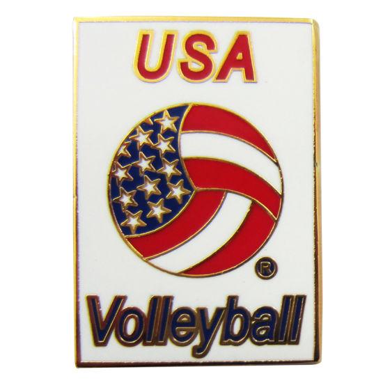 Fashion Promotion Gift Soft Enamel USA Volleyball Emblem Badges (062)
