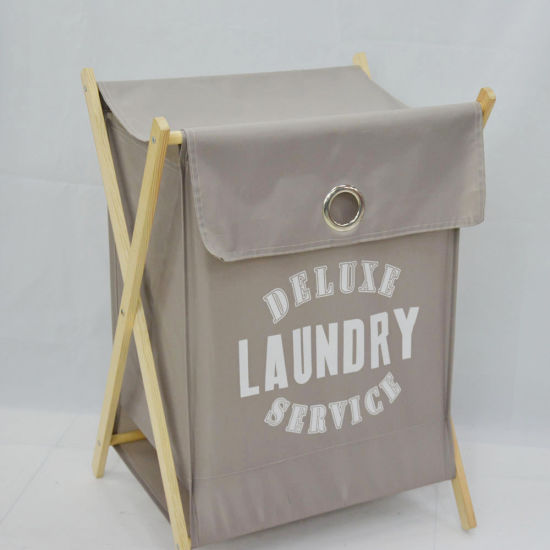 Folding Laundry Bag Wooden Frame Laundry Baskets