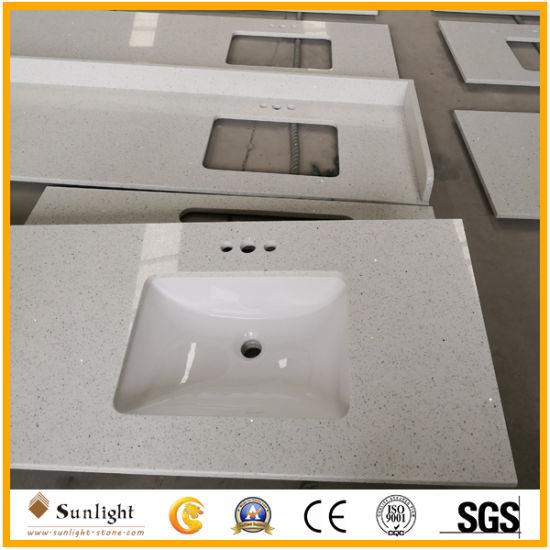 Prefab Pure White/Calacatta White/Granite/Quartz Stone Vanity Top
