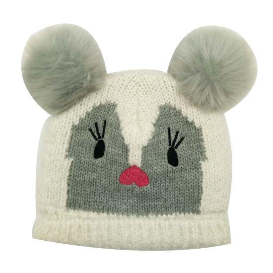 de6d3e86 Children Winter Warm Fashion Boucle Knitting Hat Cap with Embroidery Fleece  Lining & Faux Fur Pompoms