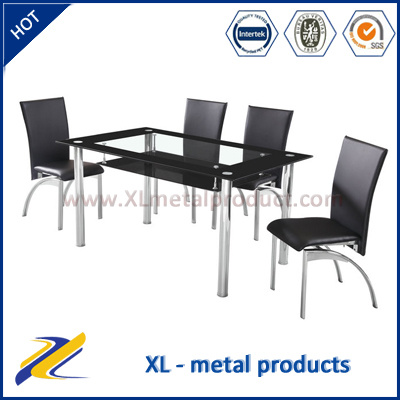 Glass Table And Leather Chair Restaurant Used Dining Set