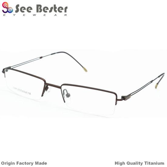 China Slim Classic Rectange Titanium Prescription Eyeglasses Frames ...