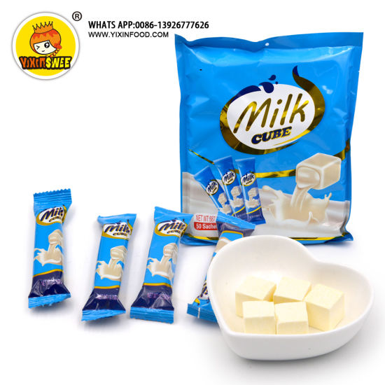 Bag Packing 5PCS in 1 Milk Flavor Cube Candy