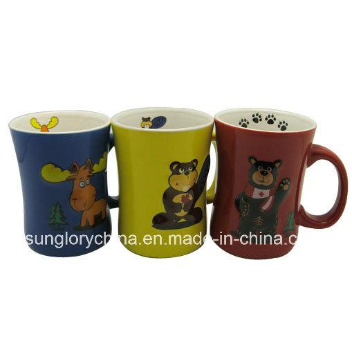 Waist Shaped Relief Ceramic Mug