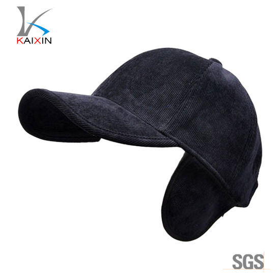 c37981c74c5 China Custom Plain Blank Corduroy Baseball Cap Hat with Earflaps ...