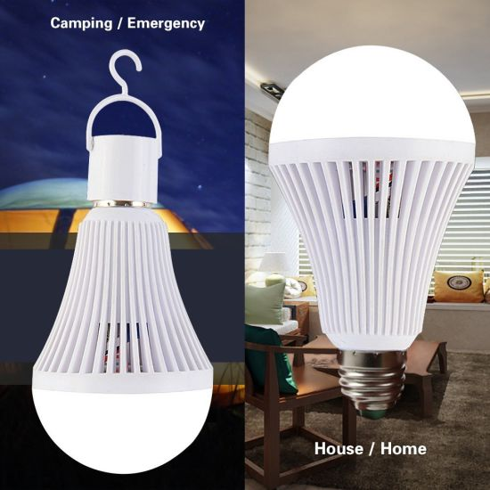 China Jiangmen Factory Rechargeable Emergency LED Bulb Lights with Built-in Battery