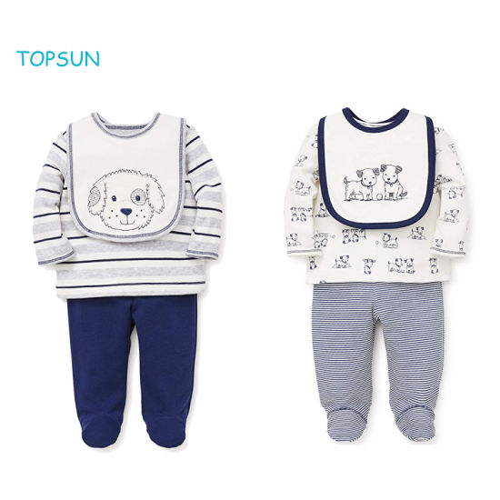 3 PCS Newborn Boy Clothes Unisex Long Sleeve Outfits Baby Gifts Layette Sets