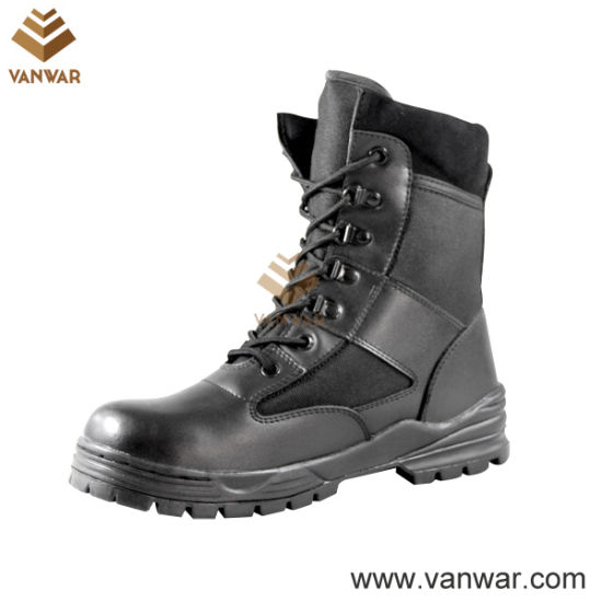 Black Fabric Anti-Slip Military Combat Boots for Army Soliders (WCB002)