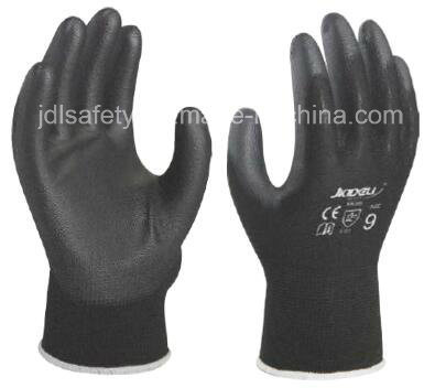 Industrial Using Keep Hands Safety Personal Protective Equipment Black Work Glove with PU Palm Coated (PN8003)