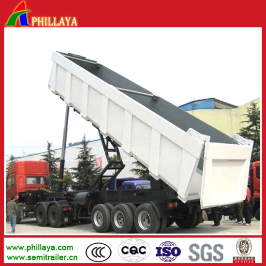 China 60-70cbm Cargo Dump Truck / Semi Box Tipper Trailer pictures & photos