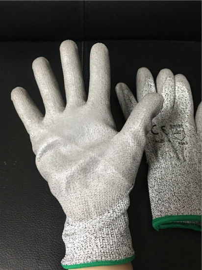 Cut Resistant Gloves PU Coated Gloves pictures & photos