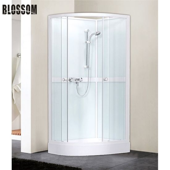 White Frame Modern Bathroom Shower Cabin Room Without Glass Roof