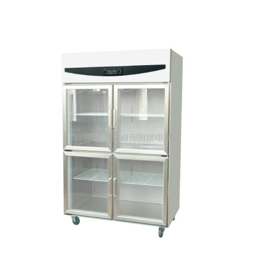Upright Commercial Display Refrigerator With Four Glass Doors For Beverage Fruit Vegetable Meat