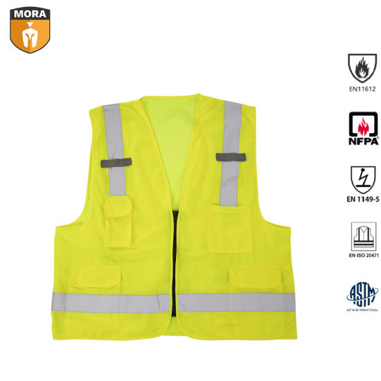 Flame Retardant Fr Cotton Hi Vis Vests in Safety Clothing pictures & photos