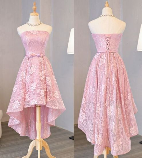 Pink Lace Party Formal Prom Gown Sleeveless Short Cocktail Dress C1715