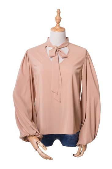 Fashion Casual V-Neck Long Sleeve Shirt Womens Blouses Tops with Tie