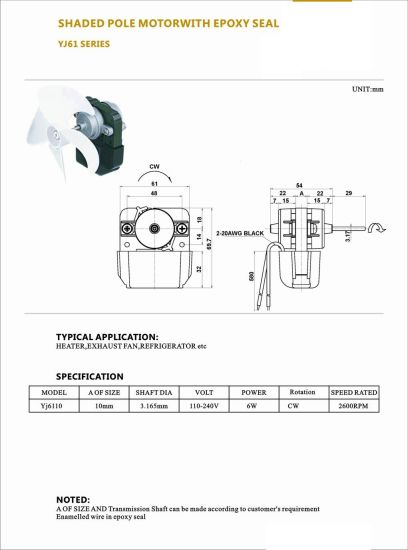 China 3000rpm Ac Electric Shaded Pole Motor For Air Purifier Motor