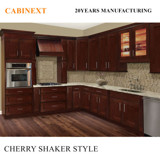Solid Wood Cherry Kitchen Cabinets: China Factory Directly American Style Cherry Shaker Solid
