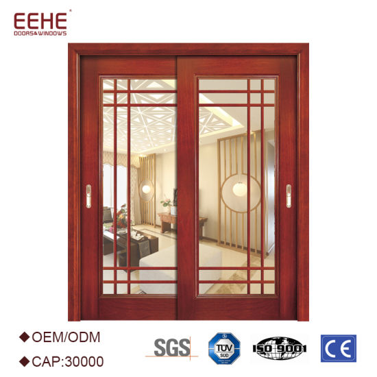 Modern French Style Interior Sliding Solid Wood Glass Door