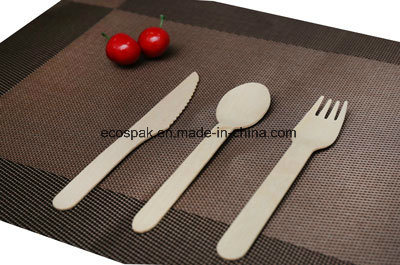 China Biodegradable Disposable Cutlery 6 Natural Wooden Spoon
