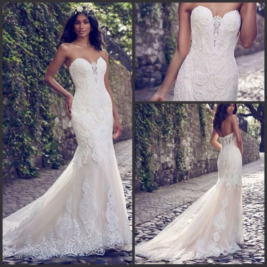 China Strapless Bridal Gowns Mermaid Lace Beaded Garden Beach