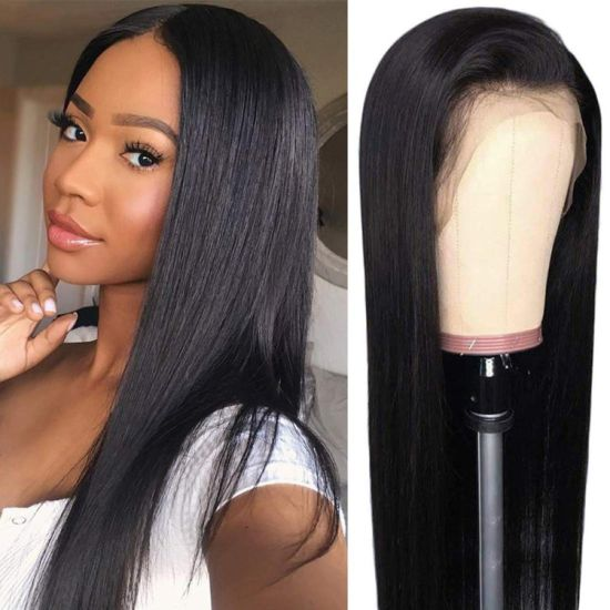 "Wholesale 10A Lace Front Wigs Human Hair with Baby Hair Straight Brazilian Virgin Human Hair Wigs 150% Density Pre Plucked with Baby Hair Natural Color 16"" pictures & photos"